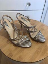 L K Bennett Addie Gold Lizard Print Sling Back Strappy Sandals Size EU 37 UK 4