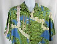Hilo Hattie men's button front large blue green palm trees floral Hawaiian shirt