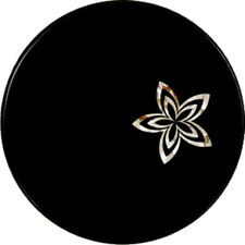 "15""x 15""  Black Round Flower Design Marble Inlay Table Top"