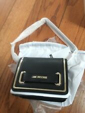 New LOVE Moschino Metallic Trim Mini Crossbody Bag Black