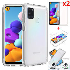 For Samsung Galaxy A21S A11 A02S A12 5G Clear Rugged Case Cover + Tempered Glass