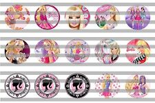 (60) Barbie Bottle Cap Image Pre-Cut 1 inch