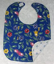 BABY BIB ~ NEW Handmade Baby Girl, Cotton and Flannel Back #05 Flowers