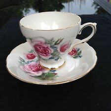 Delphine Fine China Winter Rose Teacup and Saucer REDUCED SHIPPING