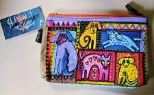 Laurel Burch Patchwork Dog Organizer Bag Makeup Pencil Art Craft NEW