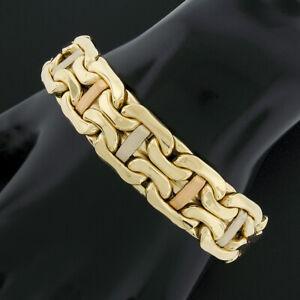 """18k Gold 7"""" Wide Puffed Polished Bismark Link w/ Brushed Finish Bars Bracelet"""