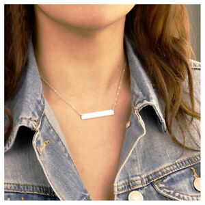 Bar necklace 18K White Gold, Initial Bar, Nameplate necklace, Custom Engraved