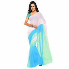 Indian Ethnic Wear Plain Blue Colour Shaded Faux Chiffon Sari With Blouse