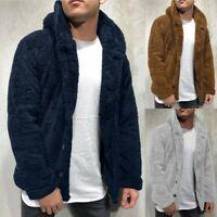 Mens Autumn Winter Solid Cardigan Blouse Fleece Outwear Tops Coat Sweater Jacket