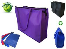 "20"" Extra Large Recycled Eco Friendly Grocery Shopping Tote Bag Book Bags Zipper"