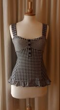 NEXT Size UK8 EU34 US4 strappy sleeveless faux corset b/w check vest top