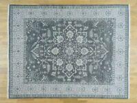 "8'x10'1"" Silver Wash Serapi Heriz HandKnotted Pure Wool Oriental Rug G32256"