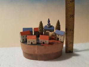 Antique Miniature Tiny Wooden Putz Village in Folky Hand Paint Shaving Box*