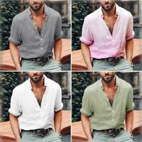 Mens Linen Long Sleeve Shirt Summer Loose Fit Casual V-Neck Shirts Tops  M-3XL