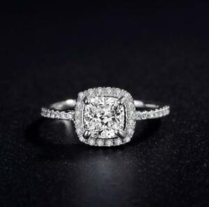 Pave Princess-Cut Cubic Zirconia Silver White Gold Engagement Ring RS18