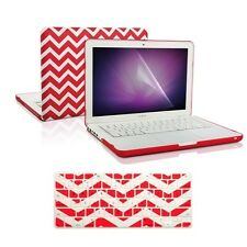 "Matte Chevron RED Hard Case + Keyboard Cover + LCD for Macbook White 13"" A1342"
