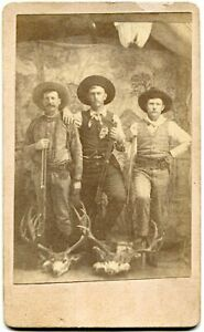 Heavily Armed Cowboy Hunters with Deer 1880s Old West CDV Photo