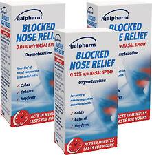 Galpharm Blocked Nose Relief Nasal Spray 15ml x3 TRIPLE PACK