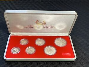 1985 Singapore 6 Coin Sterling Proof Set in Original Case Lot#A282 Silver!