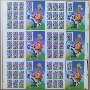 Sc# 3204 Bottom sheet of 60 uncut press sheet plate number Sylvester & Tweety