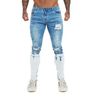 GINGTTO Skinny Washed Jean Men Stretch Slim Ripped Denim Trousers Side Zipper