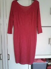 M&Co Raspberry Dress with Embossed Rose Pattern : Long Sleeved & Lined : Size 16
