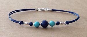 LAPIS LAZULI+TURQUOISE, Blue Leather Cord, Silver Plated, Friendship Bracelet