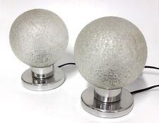 Paar Doria Nacht Tisch Lampen Leuchten 60er 70er Jahre Glas Kugel Vintage -R14