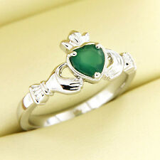 0.35 ct Heart Shape Natural Emerald 14k White Gold Over Beautiful Claddagh Ring