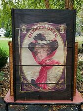 OLYMPIA Beer Poster BREWERY GIRL on Raisin Drying Tray Rack Art sign