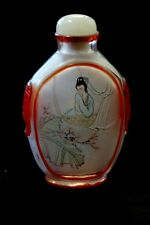 Japanese Painted Perfume Bottle w/Bird and Lady - Hand carved - Vintage