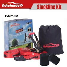 Autofonder 15m Slackline Kit With Tree Protectors Carry Bag Slack Line Set