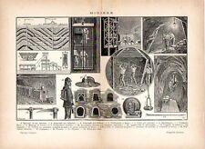 Stampa antica MINIERA di CARBONE minatori al lavoro attrezzature 1910 Old print