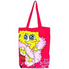 """Genuine Spongebob """"Happy SPUGNA"""" COTONE TOTE shopping bag borsa da viaggio palestra Spiaggia"""