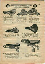 1910 AD Bicycle Saddles Seats Troxel Sager 7 Images Leather Open Center