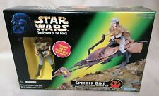 STAR WARS - MIB Power Of The Force Speeder Bike Princess Leia Figure Set Green