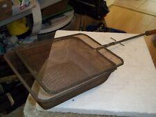 "Vintage 27-1/2"" Long Wood Handle Grill Basket Campfire Fireplace Bbq Sliding Top"