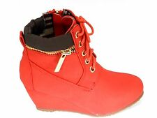 Girls New Classic Collar Lace Up All Season Wedge Almond Toe Booties Shoe Sz 9-4