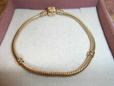 Genuine Authentic Pandora 14ct Gold Barrel Clasp Bracelet 550702 19cm 585 ALE