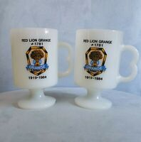 Vintage Pair 1984 Red Lion Grange Pennsylvania Mugs White Milk Glass Coffee Cup