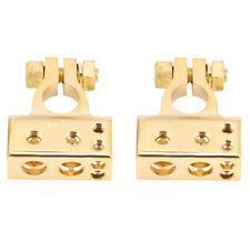 Pair Of Car Battery Terminal Positive & Negative Connector Clamp Gold For 0/1 2