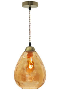 Vintage Smoked Gold Glass Shade Chandelier Pendant Ceiling Pub Diner Ball M0239