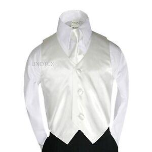 2PC Baby Toddler Kid Boy 23 color Satin Vest + Long Neck Tie for Tuxedo Suit S-7