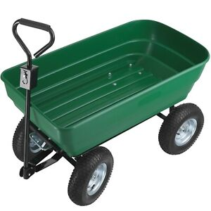 Chariot de Jardin à Main Remorque Brouette 4 Roues Benne Basculante 125L