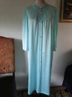 Vintage ~ Vanity Fair Robe ~ Light Blue ~ Silky Satiny Nylon ~ Button Front ~ Lg