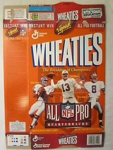 Empty WHEATIES Cereal Box 1996 NFL ALL PRO Quarterbacks ELWAY MARINO AIKMAN