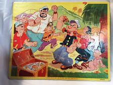 Vintage Popeye Tray Inlaid Puzzle Olive Oyl Pirates Jaymar Treasure Chest