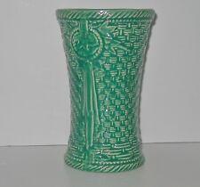"McCoy Pottery Basket Weave Vase 8"" Turquoise Medallion Pattern Rope Edging"
