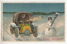 Präge Ak Automobil mit Schneemann 1908 Prosit Neujahr 1907 ! (A1133