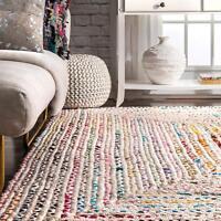 "White Braided Rectangle Chindi Area Rag Rug Hardwood Floors Woven Rug 2x6"" Feet"